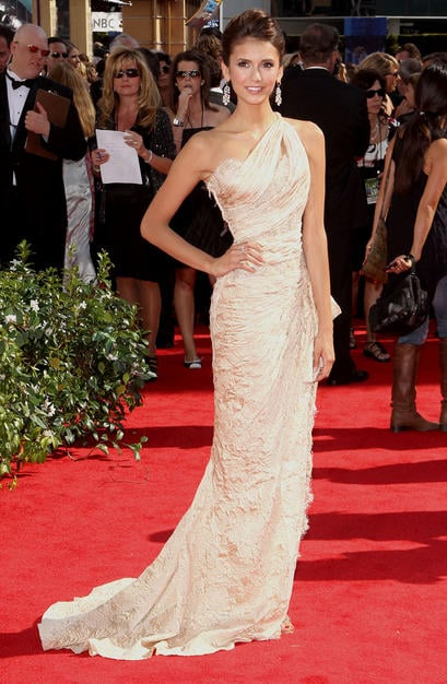 Nina Dobrev hairdo at Emmy Awards
