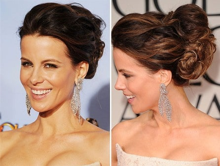 Kate Beckinsale hairstyle Golden Globes 2012